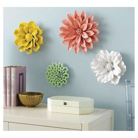 Ceramic Wall Flower Decor by Threshold Ceramic Flower Wall Sculpture White Den