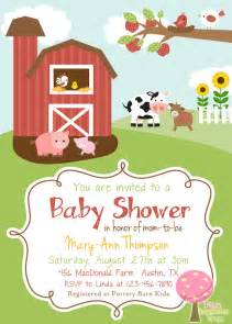 farm themed baby shower invitation gender by pinklemonadetree