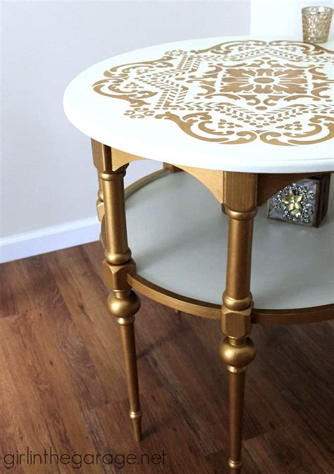 white and gold desk gold and white stenciled themed makeover in
