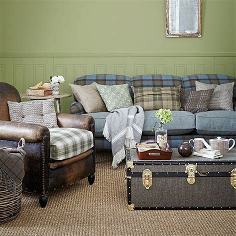 country blue living room green and blue check country living room living room decorating ideal home