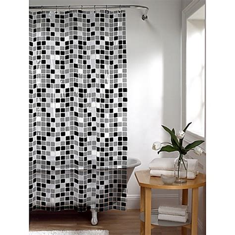 white black shower curtain tiles shower curtain in black white bed bath beyond
