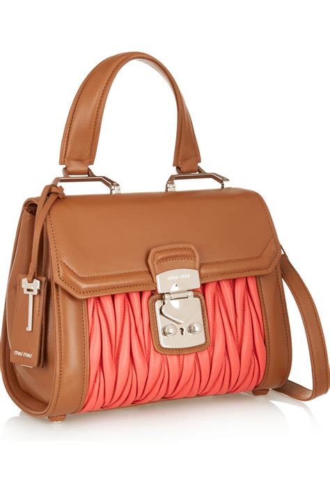 Miu Miu Brown lyst miu miu two tone matelass 233 leather shoulder bag in