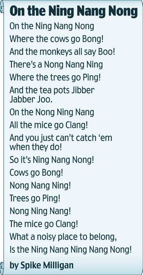 on the ning nang nong poem by spike milligan poem hunter on the ning nang nong edspire