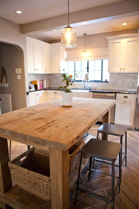 salvaged wood island transitional kitchen tess