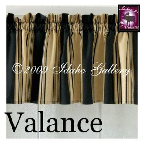 black and tan curtains home decor black tan cream stripe short valance curtain by