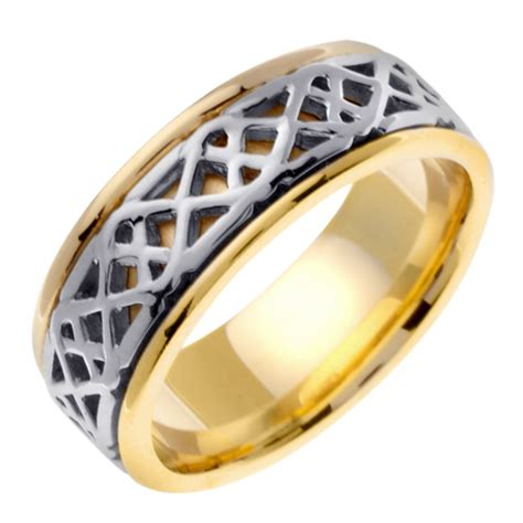 14k yellow and white gold 8 0mm handmade celtic wedding