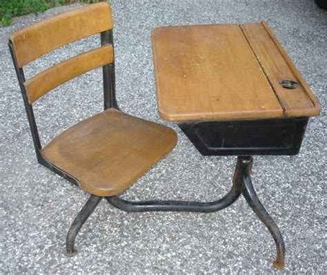 vintage american seating company wood iron school desk on