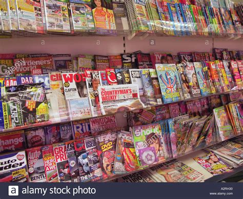 magazine rack in newsagent shop stock photo royalty free