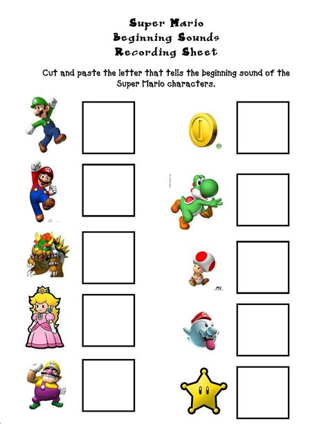 Mario Brothers Worksheets