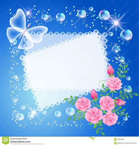 Hermosa Photo Frame Minimalis5r Blue background with frame roses and butterfly stock vector