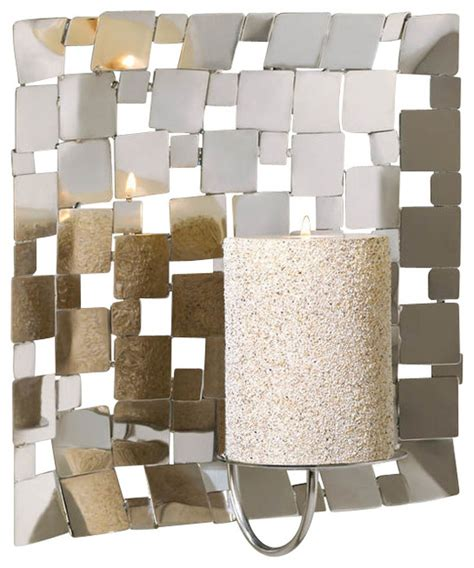 modern candle wall sconces malibu creations modern silver mosaic wall sconce