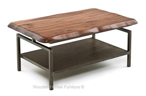 modern industrial coffee table metal console walnut
