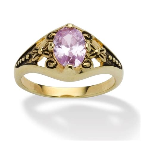 birthstone 14k gold plated filigree ring june simulated