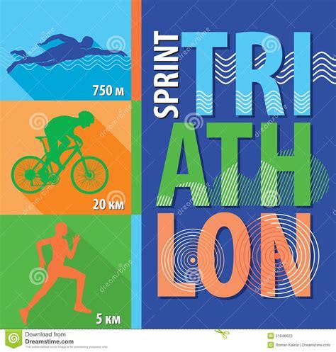 flat design poster vector vector illustration triathlon flat design poster sprint