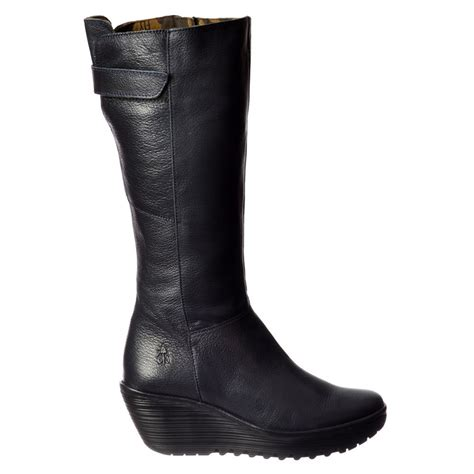 fly yoa knee high leather winter boot low wedge