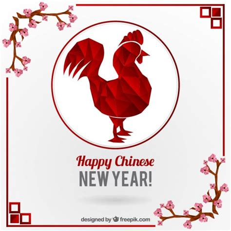 new year animals vector polygonal rooster with floral decoration for new