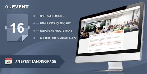 Onevent Special Event Landing Page By Saptarang Themeforest Event Landing Page Template Free