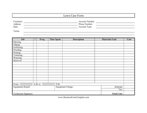 free printable lawncare card templates lawn care form template