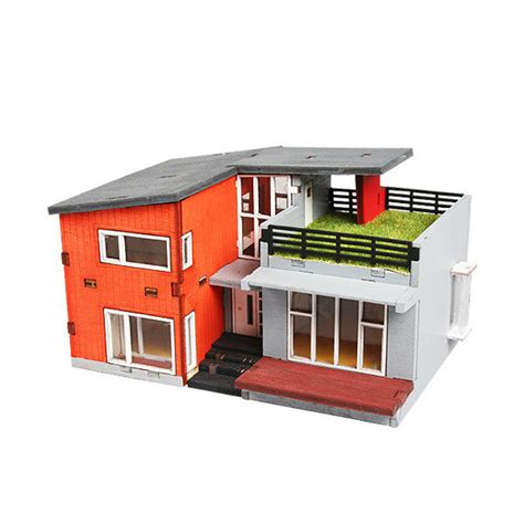 modern style house wooden model kit ho 3d wood miniature ym655 ho series modern house wooden model kit ebay