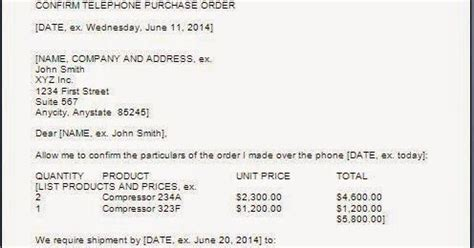 Confirmation Letter Purchase Purchase Order Confirmation Letter Format