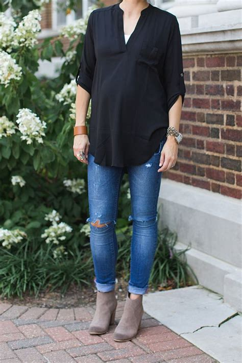 one little momma what i wore embroidered tunic and dark denim black tunic fedoras and maternity on pinterest