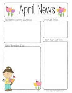 Free April Newsletter Template by April Newsletter For All Grades Teaching Ideas