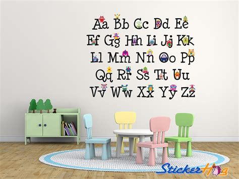 alphabet stickers for walls alphabet monsters graphics vinyl wall decal