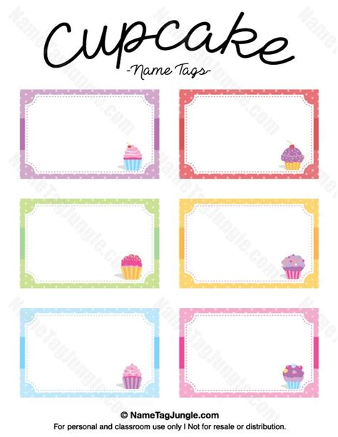 birthday labels template free printable cupcake name tags the template can also be