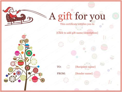 christmas ball trees gift certificate template david
