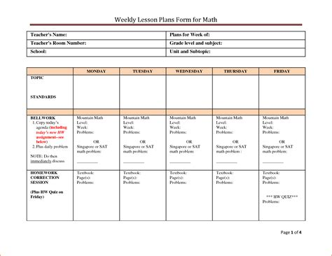 singapore math lesson plan template gallery template