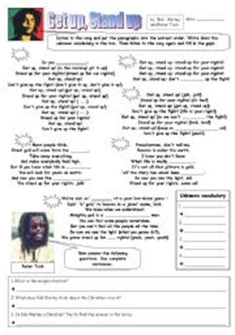 bob marley biography esl english worksheet bob marley get up stand up
