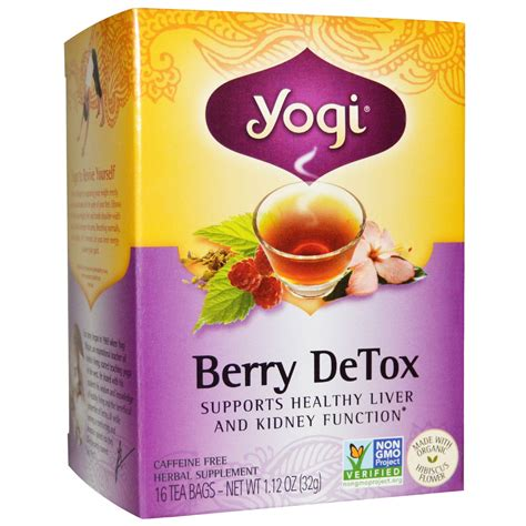 Detox Tea Me Tired by Yogi Tea Berry Detox Caffeine Free 16 Tea Bags 1 12 Oz