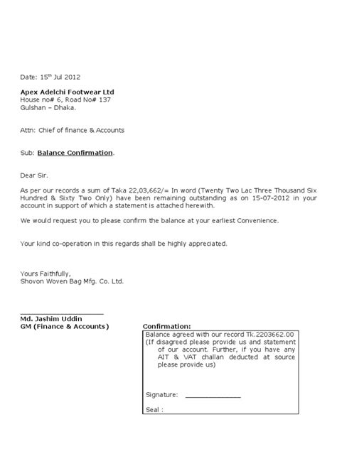 Confirmation Letter To Vendors Balance Confirmation Letter Dtd 10 07 2011 Dhaka