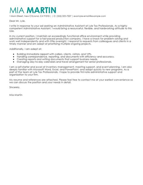 cover letter exles for admin assistant leading professional administrative assistant cover letter