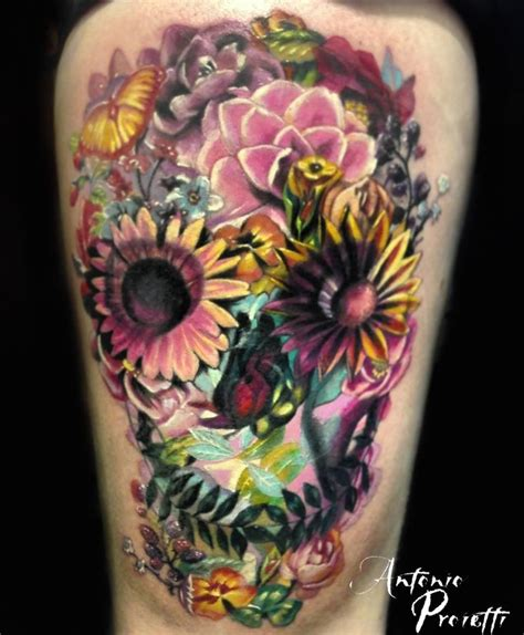 skull and flower tattoos 105 best images about skulls on lower arm