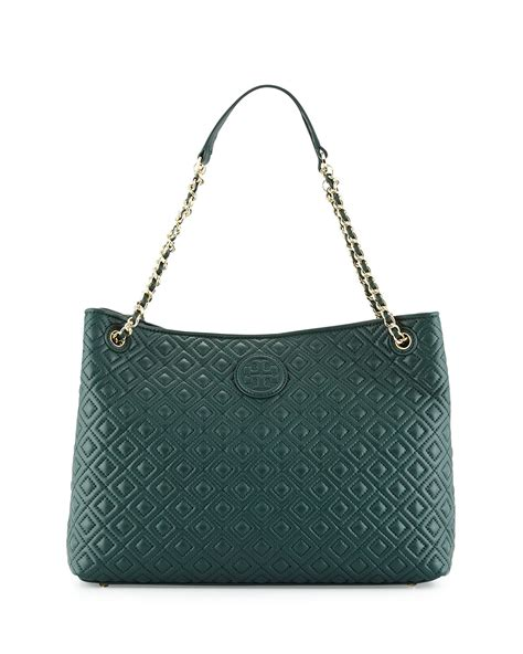 Tas Wanita Burch Quilted Shoulder Bag burch marion quilted slouch shoulder bag in green jitney green lyst