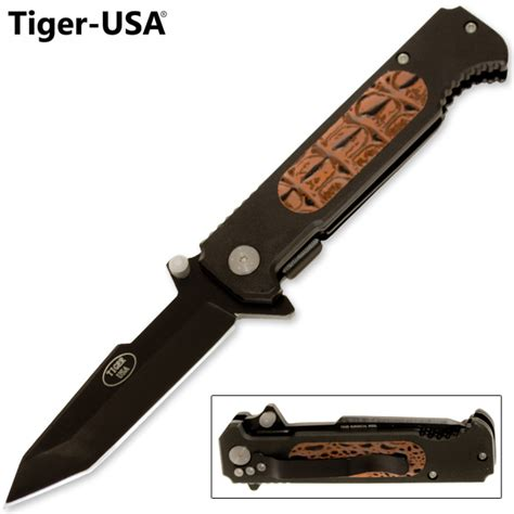 tiger knives usa tiger usa assisted tool steel tanto blade knife leather handle