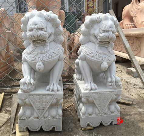 hand carved chinese lion marble foo dog statue  home
