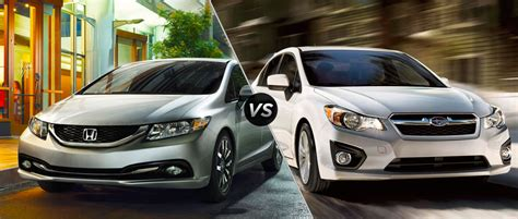 honda civic or subaru impreza 2014 honda civic vs 2014 subaru impreza