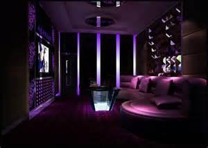 Purple ktv room interior design night rendering 3d house