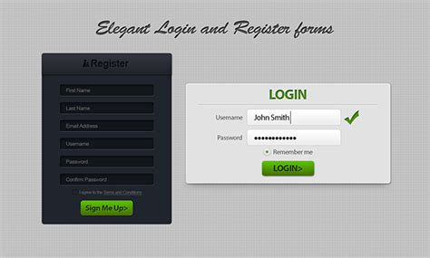 Form Design Psd Free Download | free elegant register and login form design psd titanui