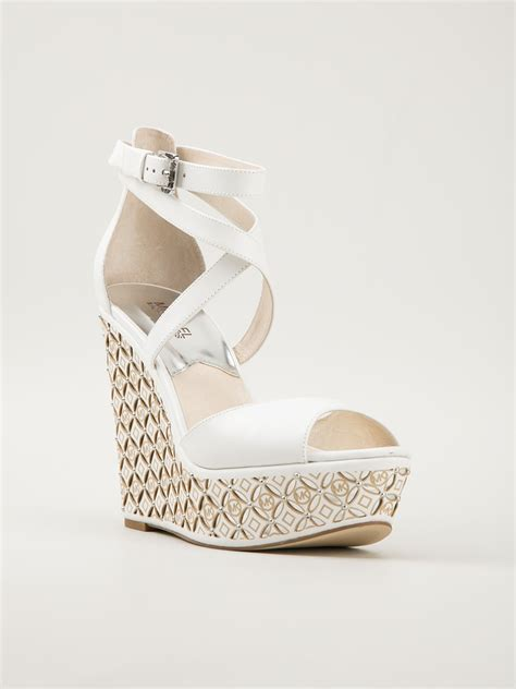 Sandal Wanita Wedges Krem 04 Lyst Michael Michael Kors Wedge Sandal In White