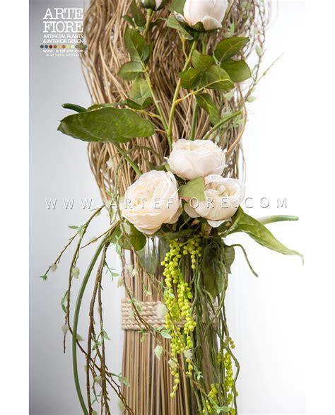 immagini vasi di fiori composizione di fiori secchi e peonie in vaso di vetro