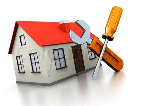 3d illustration of house with screwdriver and wrench