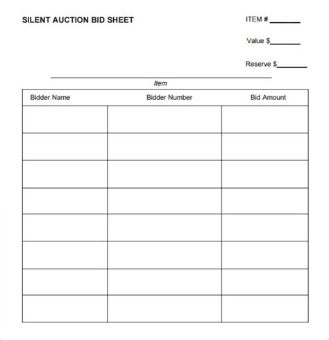 Silent Auction Bid Sheet Template Printable by Silent Auction Bid Sheet Template 8 Free