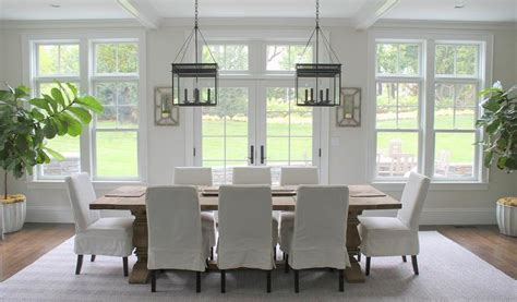 skirted slipcovered dining chairs transitional dining room
