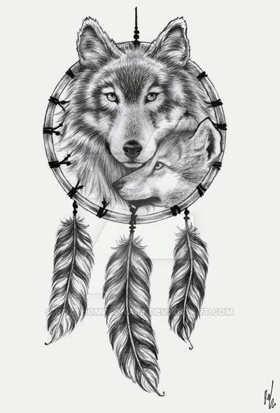wolf dreamcatcher tattoo design by rozthompsonart on