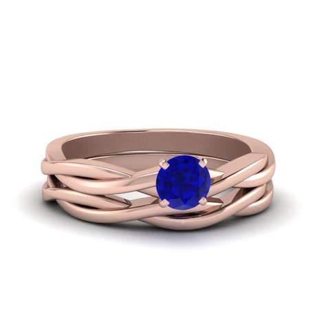 Twisted Set twisted solitaire sapphire wedding set in 14k gold