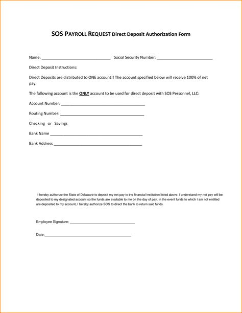authorization letter to deposit in sbi 8 direct deposit authorization form authorization letter