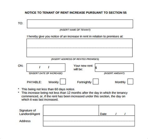 section 13 rent increase form rent increase notification letter template rent increase